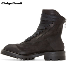 Retro Boots Men Full Grain Leather Fur Keep Warm Snow Boots Man Winter Plush Casual Shoes Boys Lace Up Boots US 6-10 us6 10 crocodile grain round toe boots men full grain leather lace up office shoes retro winter man formal dress ankle boots