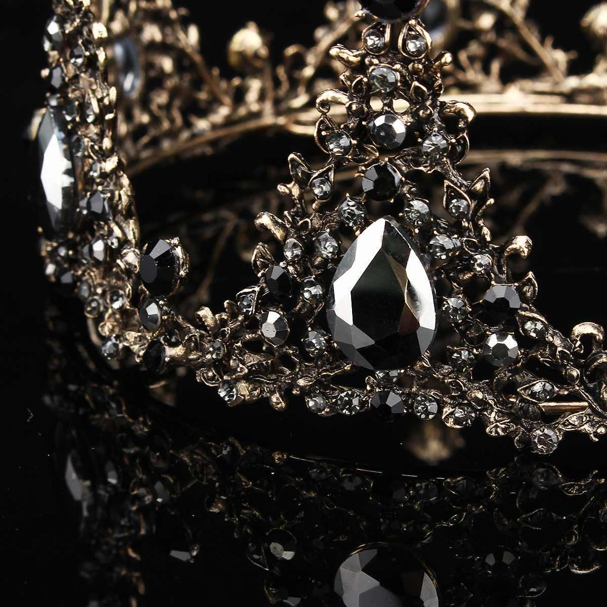 ... Baroque Full Round Tiara Black Rhinestone Crystal Crowns Vintage Queen  Pageant Bridal Wedding Hair Jewelry Accessories ... eaa2244e0ed6