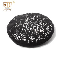 JOEJERRY Black Beret Winter Hats With Rhinestones Artist Beret Wool Cap French Hat Personality