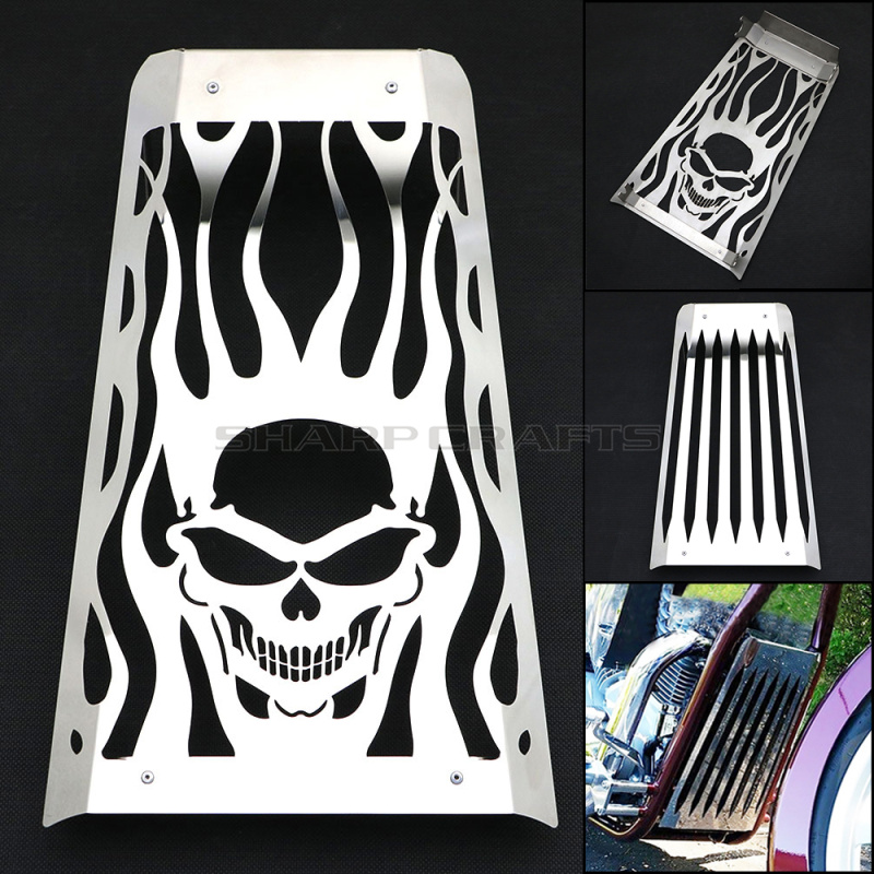 Motorcycle Parts Skull Flame Polished Stainless Steel Radiator Cover Grill Guard Protector For Honda Fury VT1300