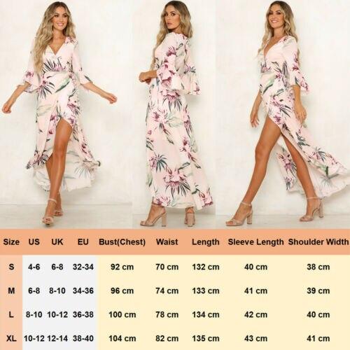 eb8aa0060b87 Atractivo de las mujeres Floral de Boho Maxi vestido de fiesta de ...
