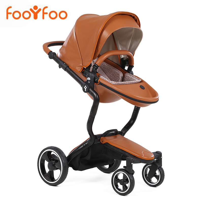 Foofoo Baby stroller High landscape baby trolley leatherFoofoo Baby stroller High landscape baby trolley leather