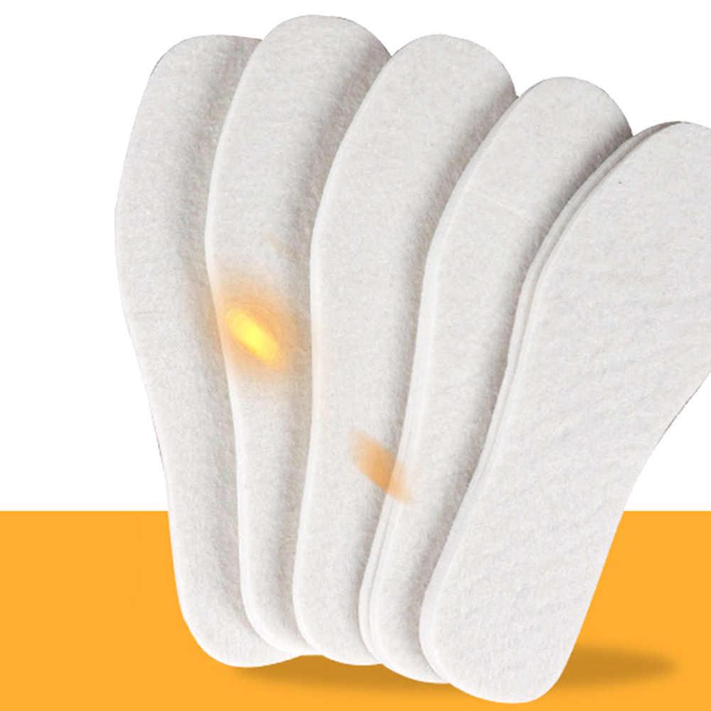 1 par de plantillas de lana invierno grueso suave cálido felpa transpirable Unisex algodón zapatos almohadillas de Color sólido invierno cálido plantillas
