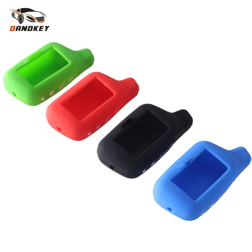 Dandkey 4 Buttons Silicone Car Key Case Cover 2-Way Car Alarm System LCD For Tomahawk X5 Remote Control Keychain Cover Shell