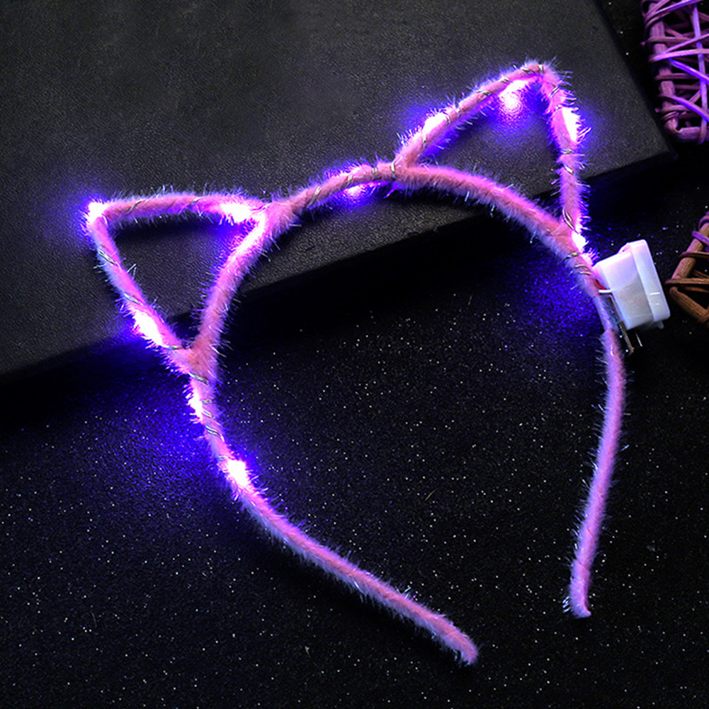 1PC Led Ear Cat Shaped LED Headbands Party Light Up Flashing Blinking Party Headwear Christmas Hair Accessories Glow Party