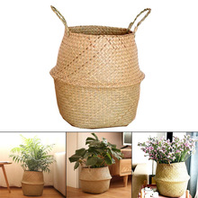 Seagrass Wickerwork Basket Rattan Hanging Flower Pot Dirty Laundry Hamper Storage Basket WXV Sale недорого