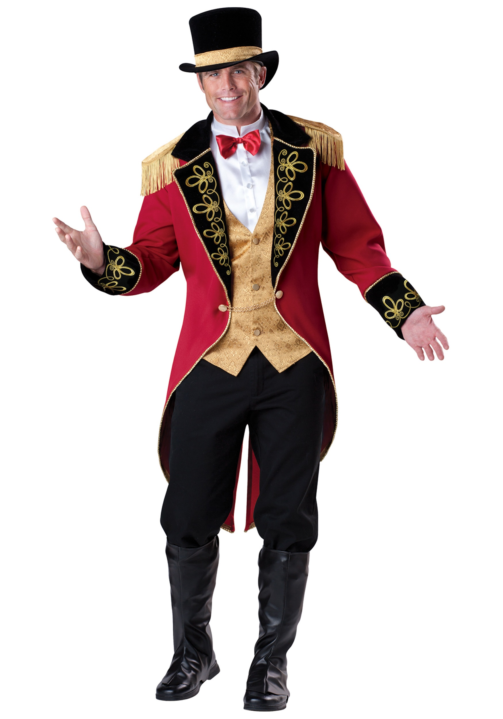 Man Deluxe Ringmaster Costume Magician Party Circus Lion Tamer Tuxedo Fantasy Dress Outfit