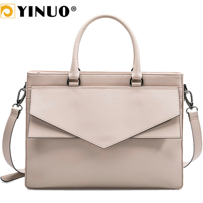 Yinuo Microfiber Leather Handbag Women 13.3inch 14inch Laptop Bag Briefcase Waterproof Detachable Shoulder Bag Summer