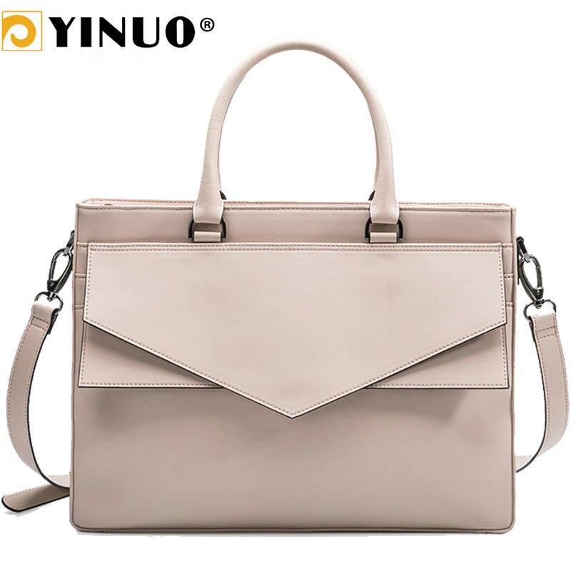 YINUO Microfiber Leather Handbag Women 13.3inch 14inch Laptop Bag Briefcase Waterproof Detachable Shoulder Bag Summer