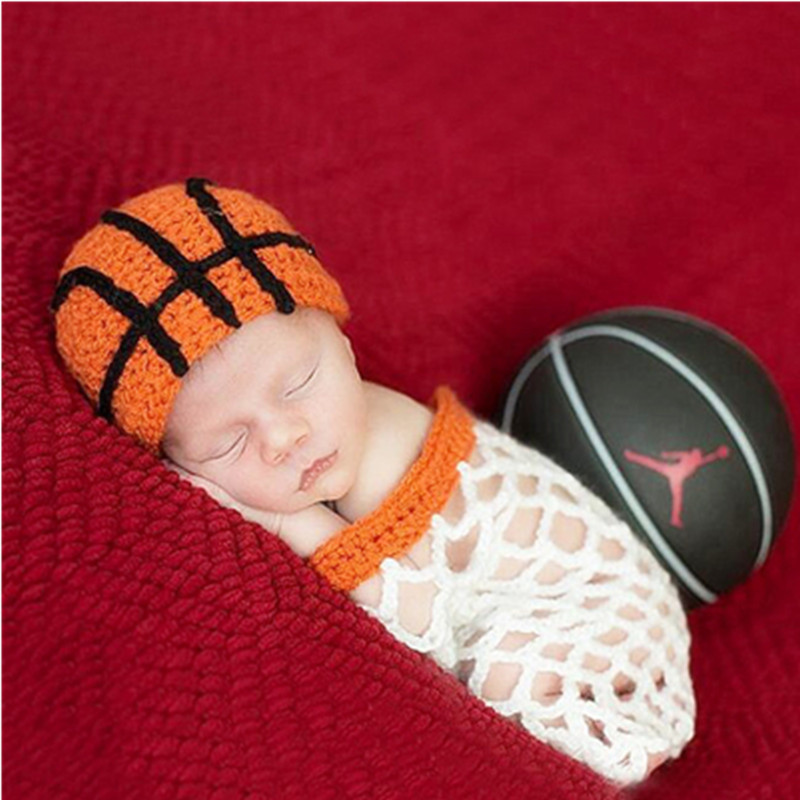 Newborn Photography Props Cute Basketball Shape Photography Clothing Wool Crochet Baby Hat Set Shoot Baby Photo Prop Accessories