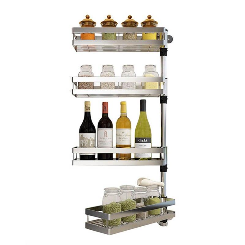 SUS 304 DIY Drehen Edelstahl küche Regal, Küche Rack, gewürz Rack Wand  Halter Organizer DIY 2-5 schichten