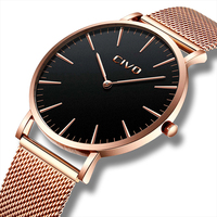 CIVO Men's Simple Ultra Thin 6 MM Wrist Watches Waterproof Date Stainless Steel Mesh Strap Fashion Unisex Watches Women Clock