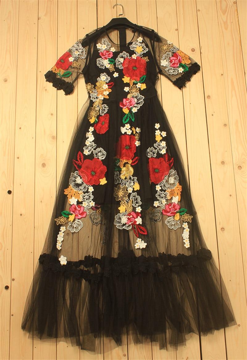 2019 printemps fleur de luxe Appliques femmes noir grande balançoire robe femmes piste voir à travers maille femme fête Maxi robes vêtements - 4