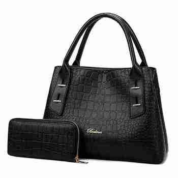 2f4c130c5 De bolso de cuero de las mujeres bolso de 2 piezas conjunto compuesto bolsa  de hombro de las mujeres señoras de cocodrilo- bolso de la manija