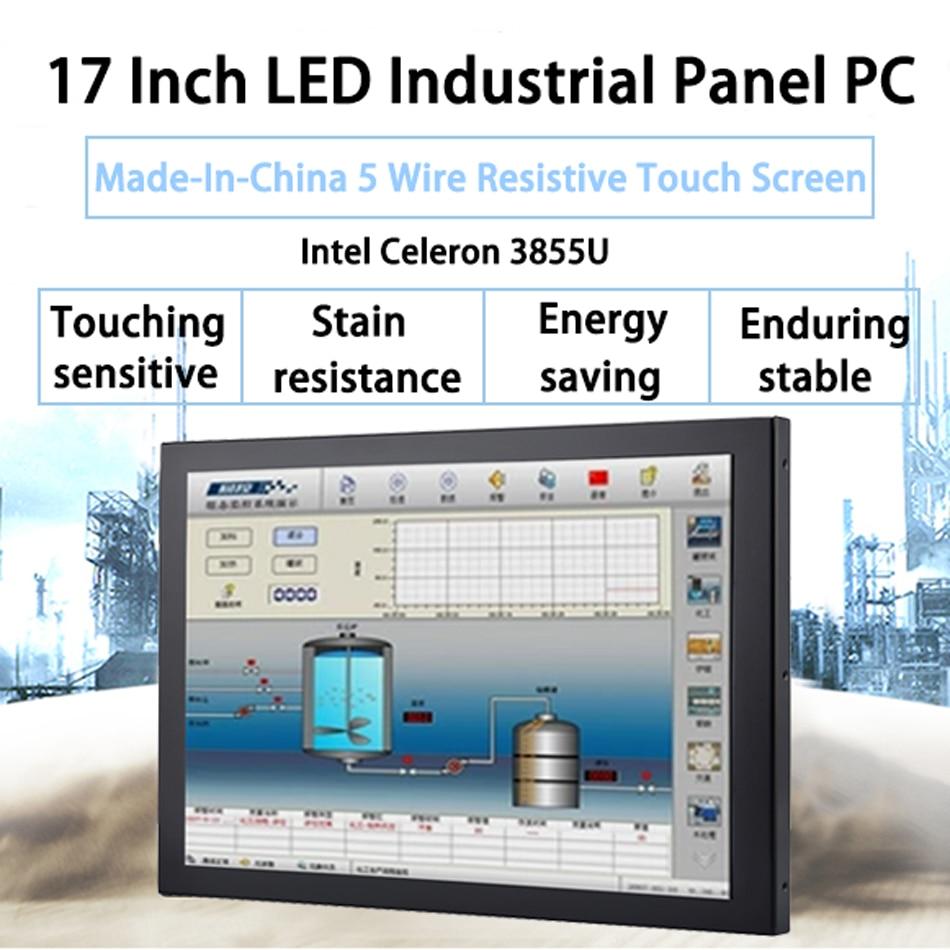 HUNSN 17 Inch Industrial Panel PC Celeron 3855U Windows 7/10/Linux Ubuntu Touch Panel PC 5 Wire Resistive Touch Screen,[DA04W]