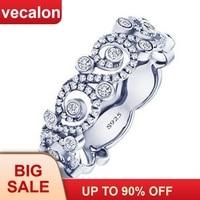 Vecalon цветок ювелирные изделия стерлингового серебра 925 Обручальное кольцо для женщин фианит AAAAA женские обручальные кольца подарок матери