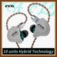CCA C10 4BA + 1DD Híbrido No Ouvido Fone de Ouvido de ALTA FIDELIDADE DJ Monito Funcionando Esportes Earphone 5 Unidade de Acionamento de Ruído Fone de Ouvido cancelamento de Fones de Ouvido