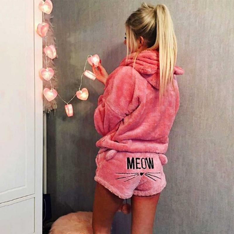 New Girl Women Pajama Sets 2018 Autumn Winter Flannel Cartoon Warm Pyjamas Women Homewear Animal Sleepwear Cat Female Pajama