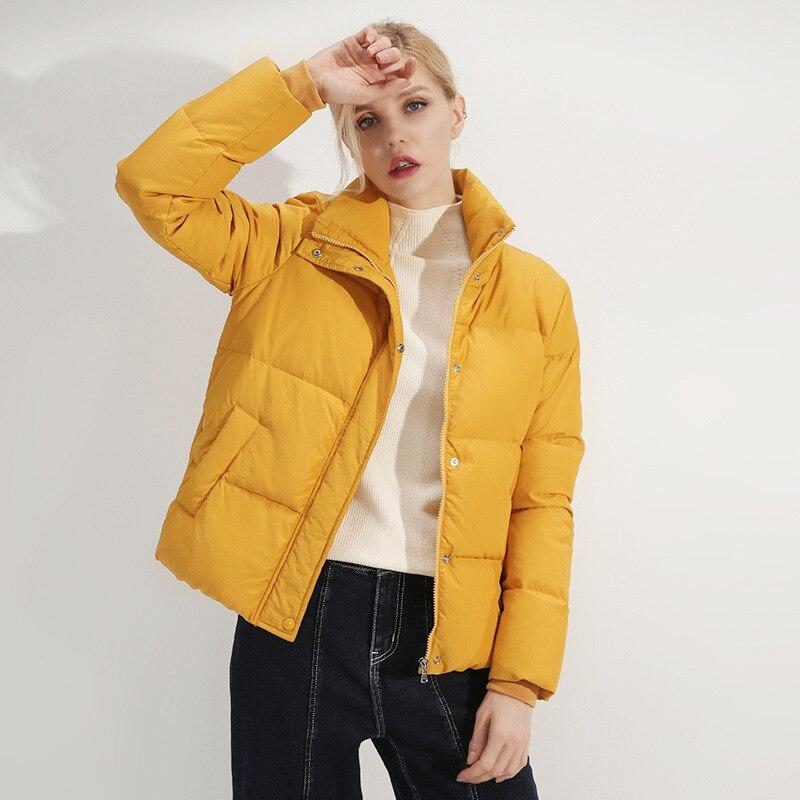 D'hiver Feminino apricot Femmes Canard Manteau Parka Blanc Black Chaud Montant J419 Boutons Col Nouveaux Duvet Épais De 2019 Européenne Hauts yellow Vintage Veste H9ID2EYeW