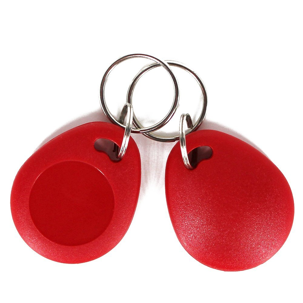 10 Pieces 13.56MHz ISO14443A RFID Cards MF Classic 1K ABS Key Fob Keychains Access Control Card Color Red