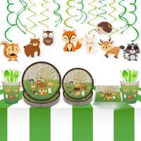 OHEART Dschungel Geburtstag Party Einweg Geschirr Kits Wald Freunde Safari Zoo Papier Platte Tasse Servietten Baby Shower Party Decor
