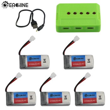 Eachine E016H RC Quadcopter Spare Parts 5Pcs 3.7V 350mAh Rechargeable Lipo Battery with 5-in-1 Charger USB Cable