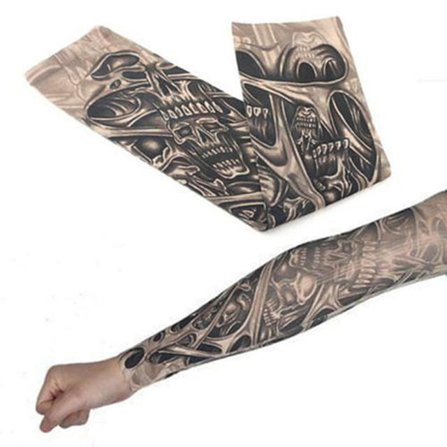 Fashion Men Tattoo Sleeve Stretchy UV Protection Slip Mangas Elastic Nylon Tattoo Arm Leg Sleeves for Women Sun Protection 4