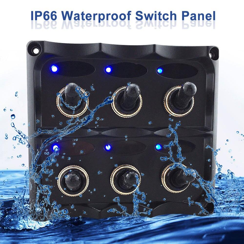 KKMOON 12 V-24 V panneau d'interrupteur à bascule étanche à 6 bandes avec fusible indicateurs LED interrupteur bricolage