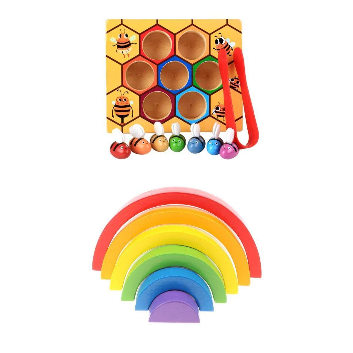 6 pièces En Bois Arc-En-Ciel Blocs + Abeille Clip Boîte Coordination œil-main Montessori Apprentissage Précoce Jouets Éducatifs pour Enfants Enfants