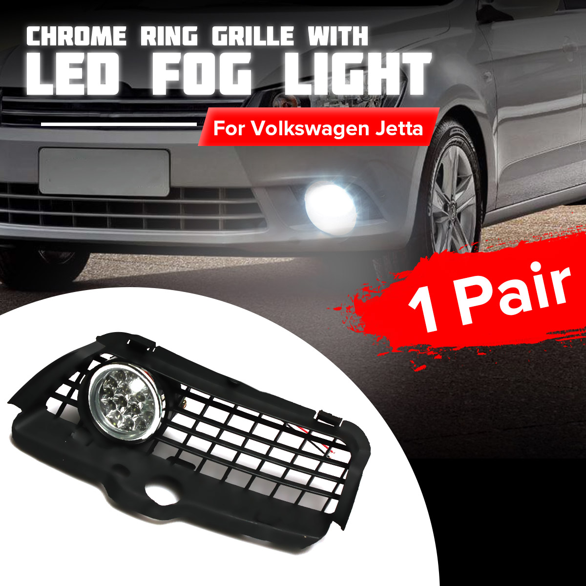 170703248756 6000K LED FOG <font><b>LIGHT</b></font> LAMP FRONT LOWER GRILL KIT FOR <font><b>VW</b></font>/<font><b>MK3</b></font>/<font><b>GOLF</b></font> 92-98 image