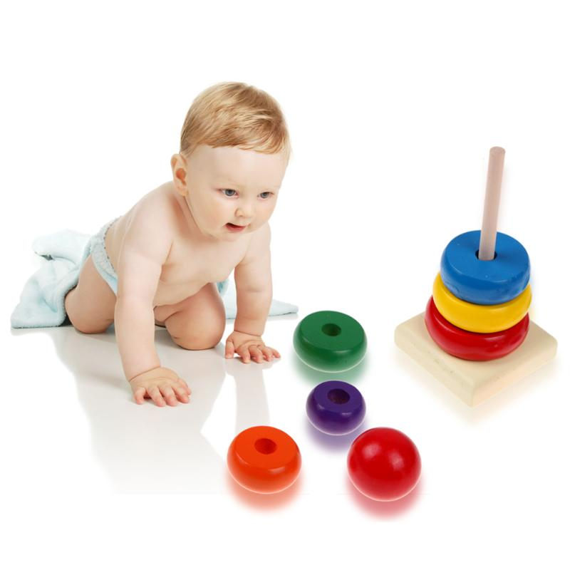 Kids Baby Toy Plush Stacking Ring Tower Educational Toys Soft Rainbow Stack Gift