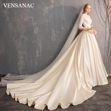VENSANAC V Neck Luxury Satin Chapel Train Ball Gown Wedding Dresses Hollow Out Lace Sleeve Backless Bridal Gowns