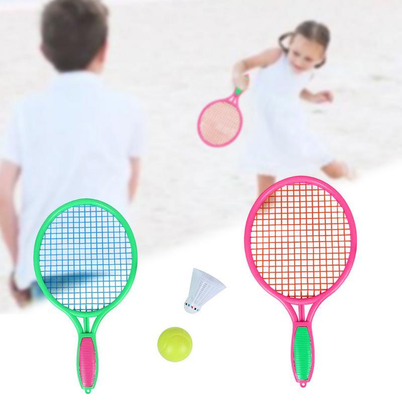 1 paire de raquette de Tennis de plage Sports de plein air pour enfants raquette de Tennis en plastique avec balle de Badminton taille M livraison directe