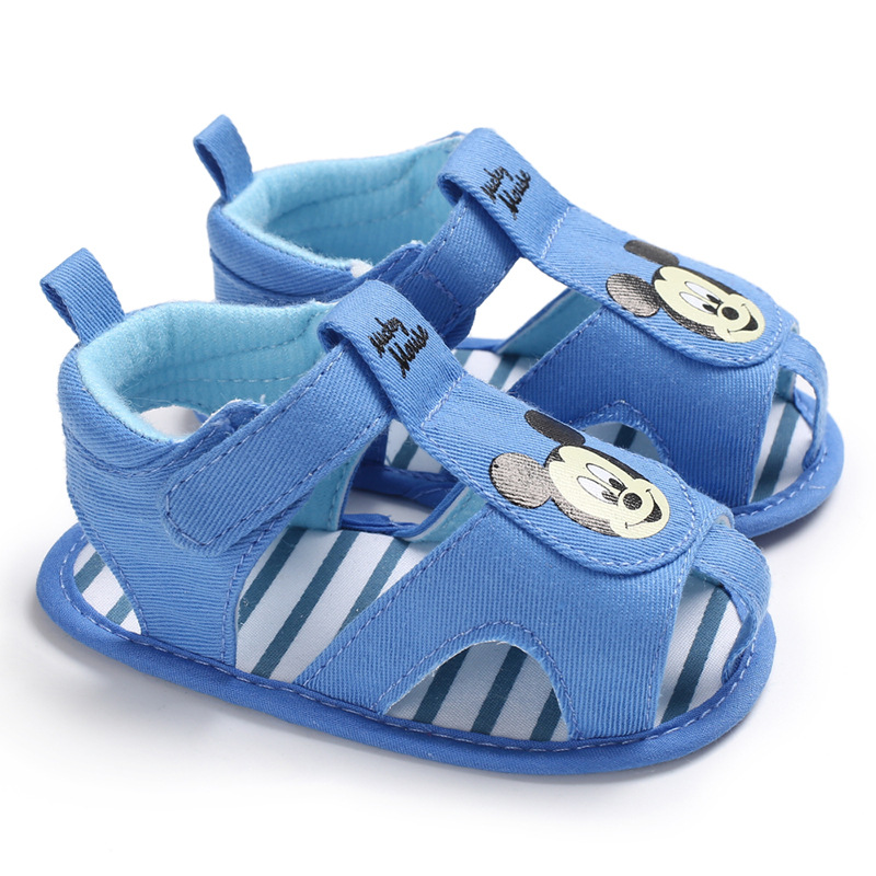 New Summer Newborn Baby Soft Bottom First Walkers Cartoon Blue Color Baby Boy Summer Shoes Infant Toddler Crib Shoes