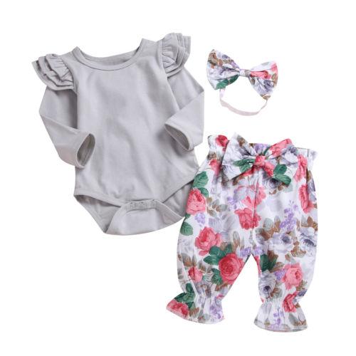 2018 Princess Toddler Baby Girl Long Sleeve Romper Top+Pants+Headband 3pcs Outfits Size 0-12M