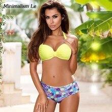 Minimalism Le Sexy Push Up Bikinis 2019 Halter Top Beach Wear Women Swimwear Hang Neck Swimsuit Female Patchwork Bathing Suit
