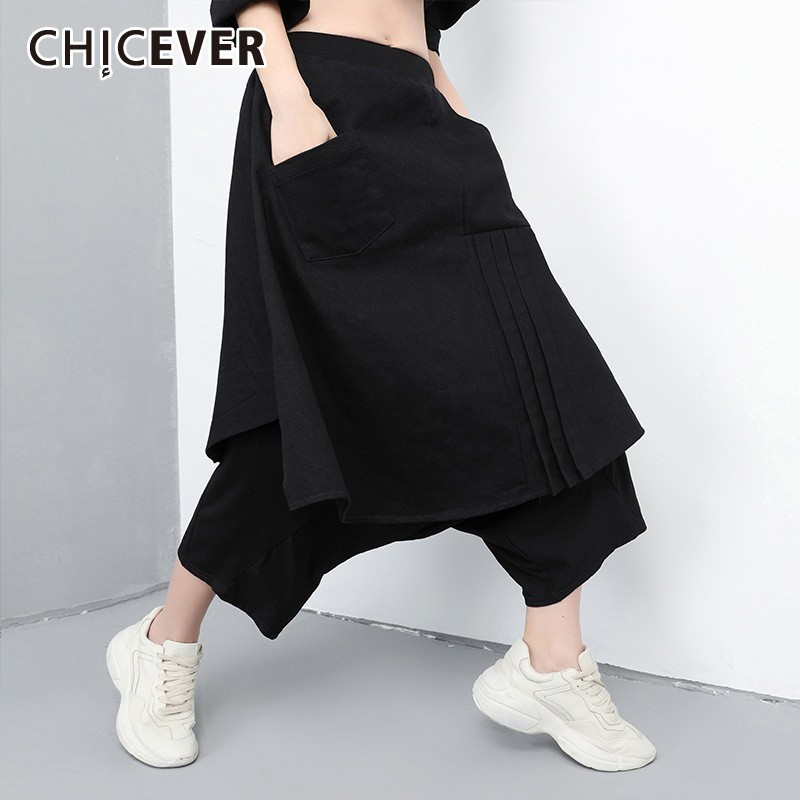 CHICEVER Spring Black Women Fake Two Pieces Pant Elastic Waist Loose Plus Size Ankle-length Female Cross-pants 2019 Fashion New