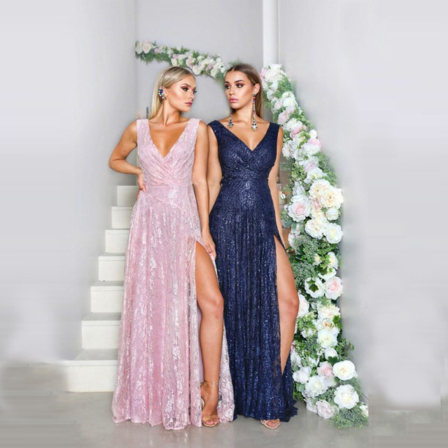 Evening Dresses Long 2018 Deep V-neck A-line Sleeveless Leg Slit Long Party  Gowns Sexy Backless Pink Special Occasion Dresses ce68141eeef8