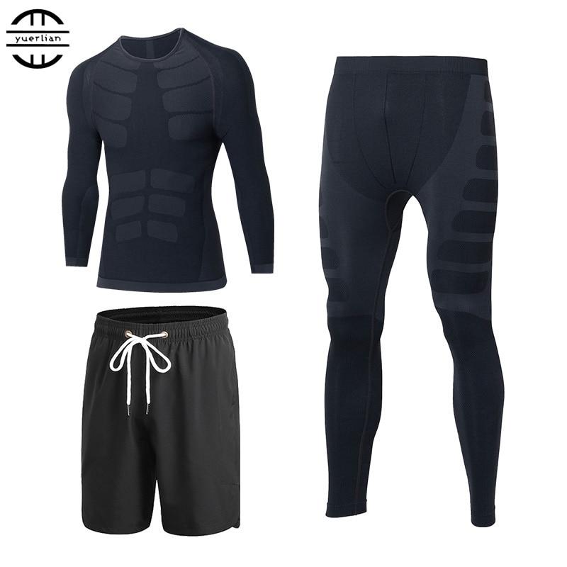 Yuerlian Quick Dry 3 st Kompressionstressor Tracksuit Män Tåg Fitness Långärmad T-shirt Pant O-Neck Gym Running Sports Suit