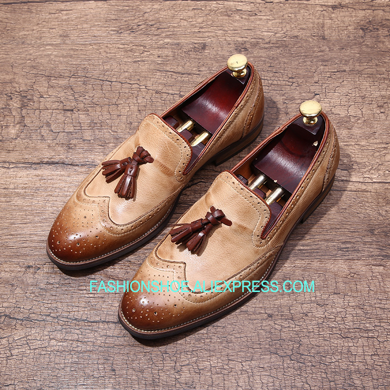 2018 Vintage Slip on Mens Shoes Formal Leisure Shoes British Style Handmade Tassel Fringe Loafers cangma british style leather pointed shoes tassel casual men handmade designer leisure slip on shoes 2017 male sapato masculinos