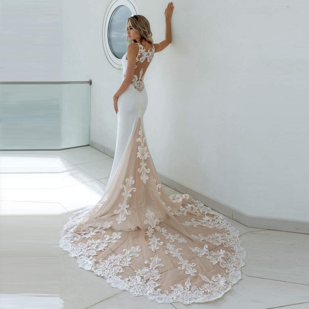 Eightale Mermaid Wedding Dresses 2019 Spaghetti Strap Appliques See Through Romantic Lace Long Train Bridal Gown Robe De Mariage