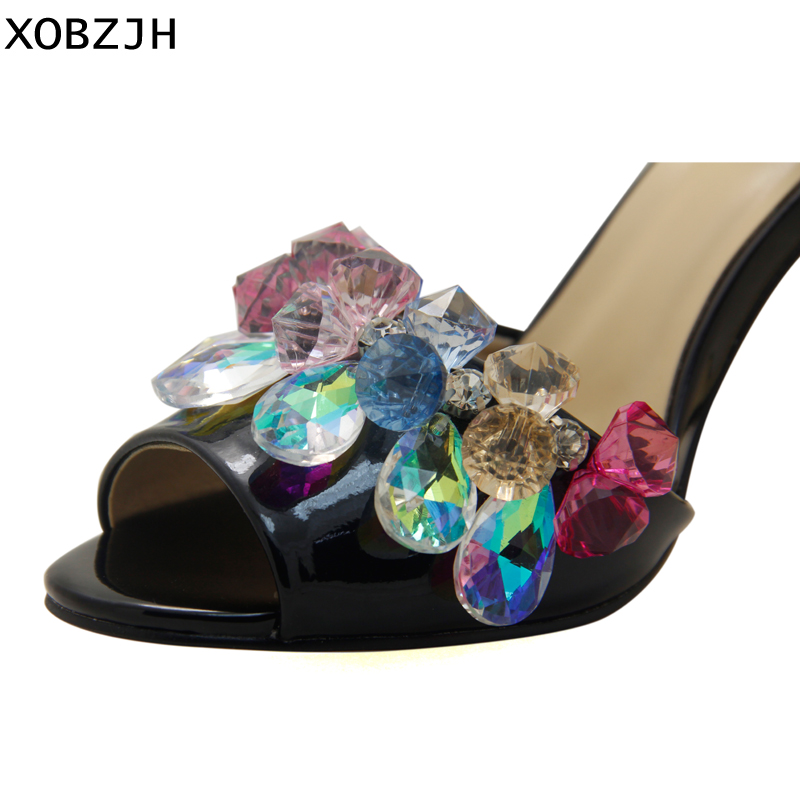 Image 5 - Luxury Sandals Women Shoes 2019 Leather Black Crystal High Heels Peep Toe Rhinestone Brand designer Sandals wedding Shoes Woman-in High Heels from Shoes