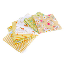 7pcs/lot 25*25cm Squares Fabric Cloth Light Yellow Pre Cut 100% Cotton Quilt DIY Sewing Patchwork