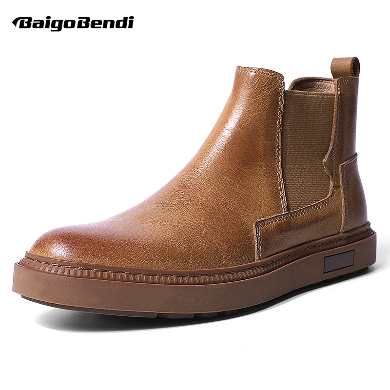Recommend!Boots Men Casual Winter Shoes Genuine Leather Slip On Business Man Ankle Boots Simple Recommend!Boots Men Casual Winter Shoes Genuine Leather Slip On Business Man Ankle Boots Simple