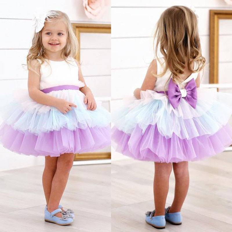 Princess Baby Girls Tutu Dress Newborn Infant Kid Baby Girl Sleeveless Tulle Bow Dress Party Wedding Birthday Dresses