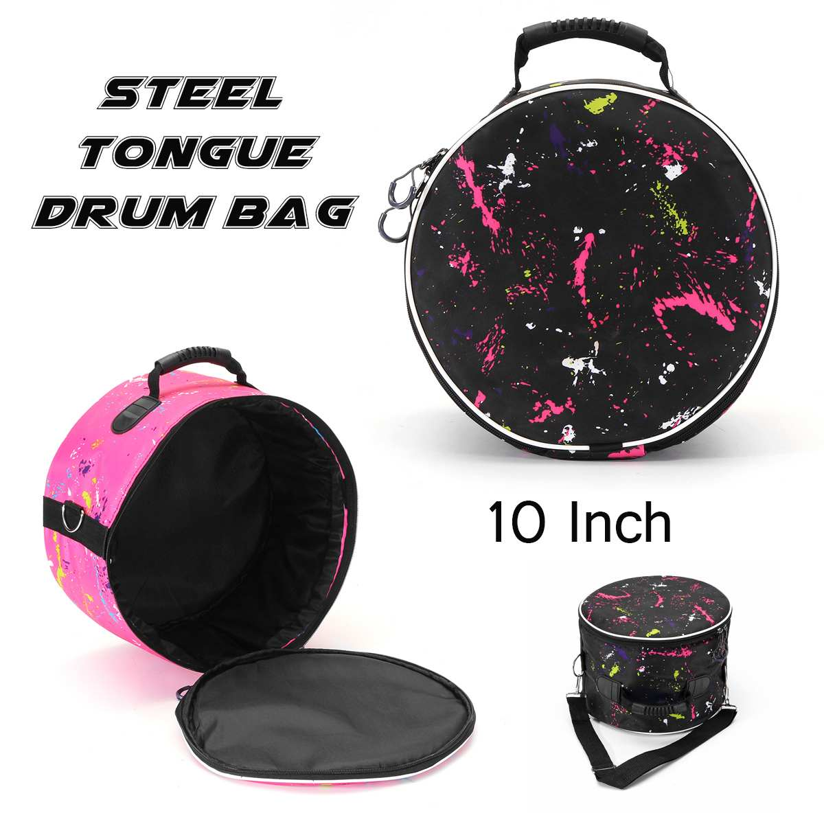10 inch protable steel tongue drum bag colorful round carrying drum bag oxford fabric steel. Black Bedroom Furniture Sets. Home Design Ideas