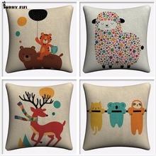 Cartoon Bear Sheep Deer And Koala Decorative Cotton Linen Cushion Cover 45x45cm For Sofa Chair Pillowcase Home Decor Almofada