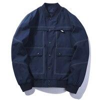 Fashion Design Multi Pockets Denim Jacket Men Autumn Winter Windbreaker Jacket Baseball Men Black Blue Jackets Men EU Size 3XL