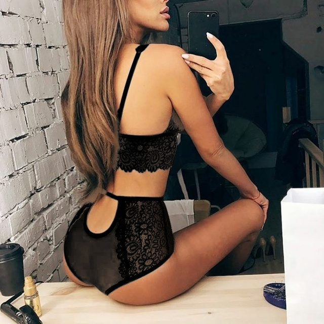 Women See-through Intimate Lingerie Bralette  Panty Lace Set