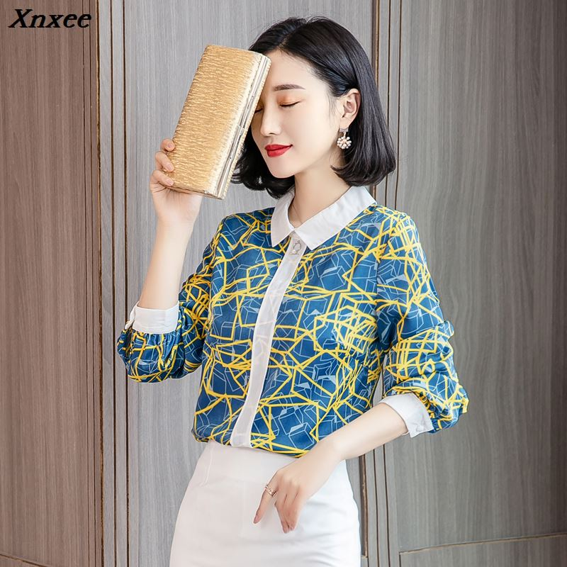 Spring and autumn floral chiffon women shirts long sleeved loose office lady blouse casual women's blouses female tops Xnxee